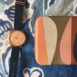 Fossil Q hybrid smart watch rose gold navy